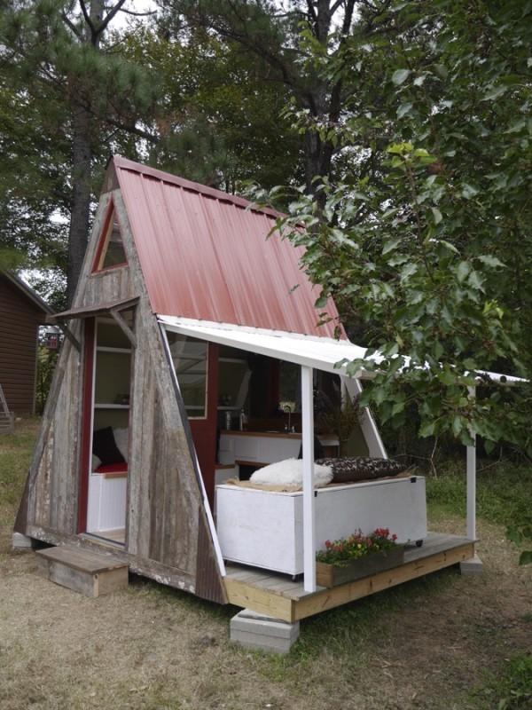 Tiny Home Designs: $1,200 Transforming A-frame Cabin