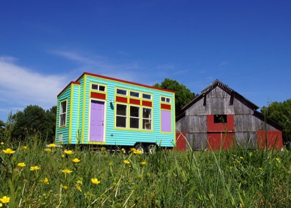 colorful tiny house on wheels