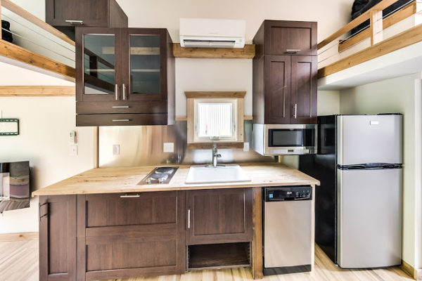 312 Sq. Ft. Log Cabin Tiny House on Wheels 005