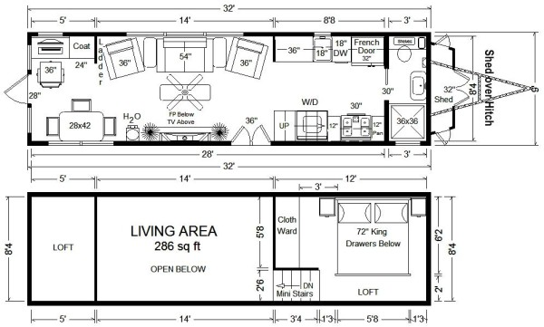 32 tiny house floor plan - Tiny House On Wheels Plans