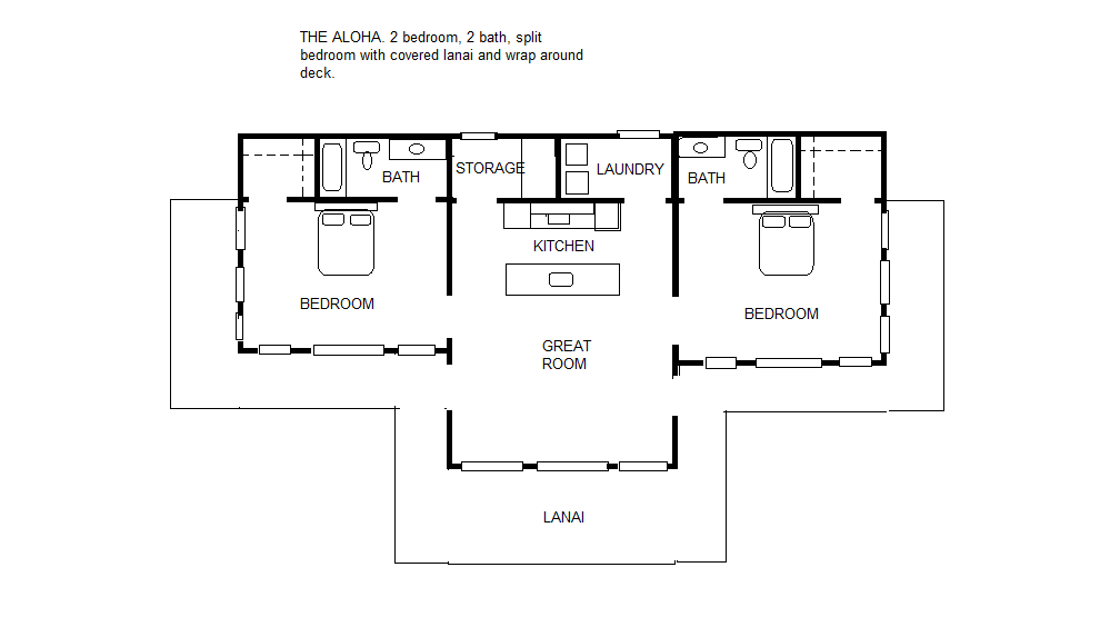 The aloha 2 2 split bedroom floor plan Split bedroom house plans