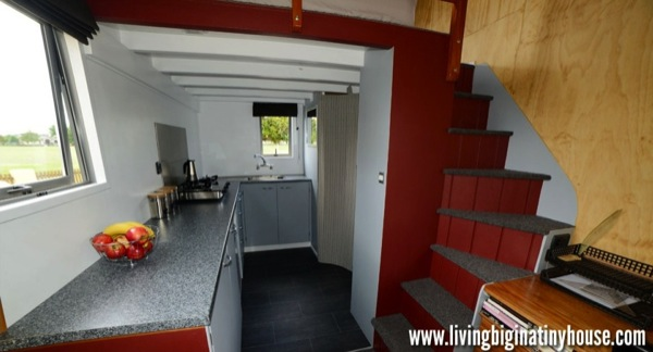 Bretts Tiny House Kitchen 1024x576   Artist Builds Amazing 161 Sq. Ft. Mortgage free Tiny House for $17,514