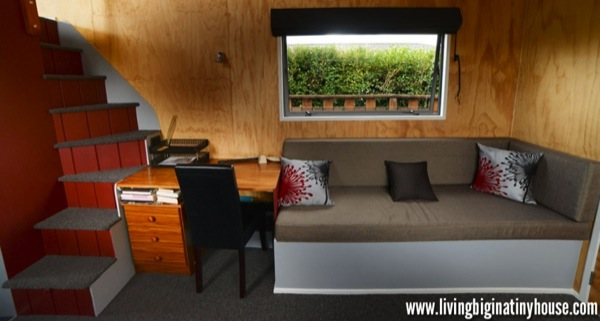 Bretts Tiny Living Room 1024x576   Artist Builds Amazing 161 Sq. Ft. Mortgage free Tiny House for $17,514