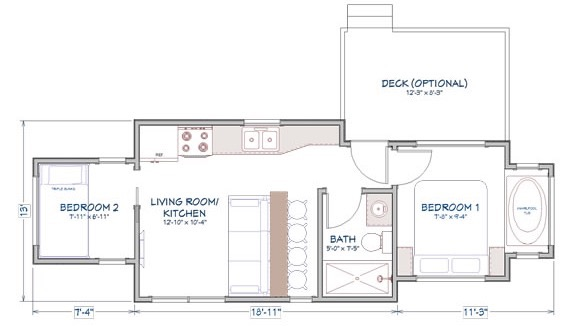 400 sq ft 2 bedroom fort sumter tiny house for Two bedroom tiny home