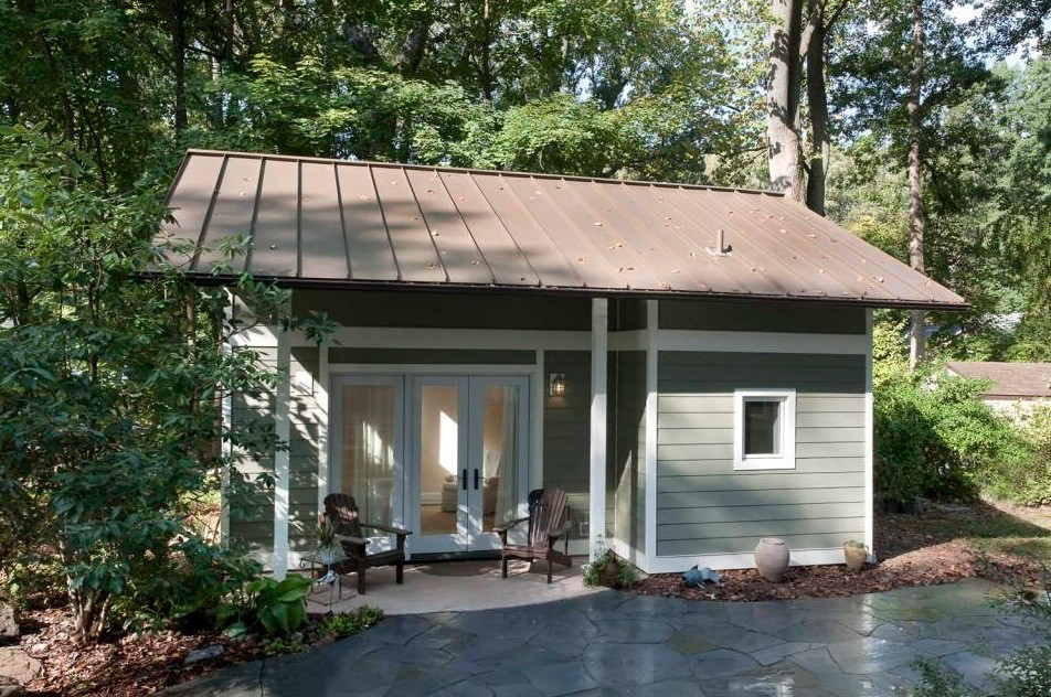 Garage converted into 340 sq ft tiny cottage for Cottage house plans with garage