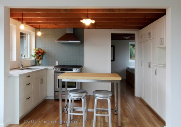Closer Look at the Cottage Style Kitchen with Built-ins and Bar Stools
