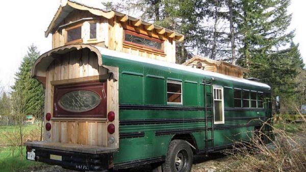 Green Cedar Bus Tiny Home 001