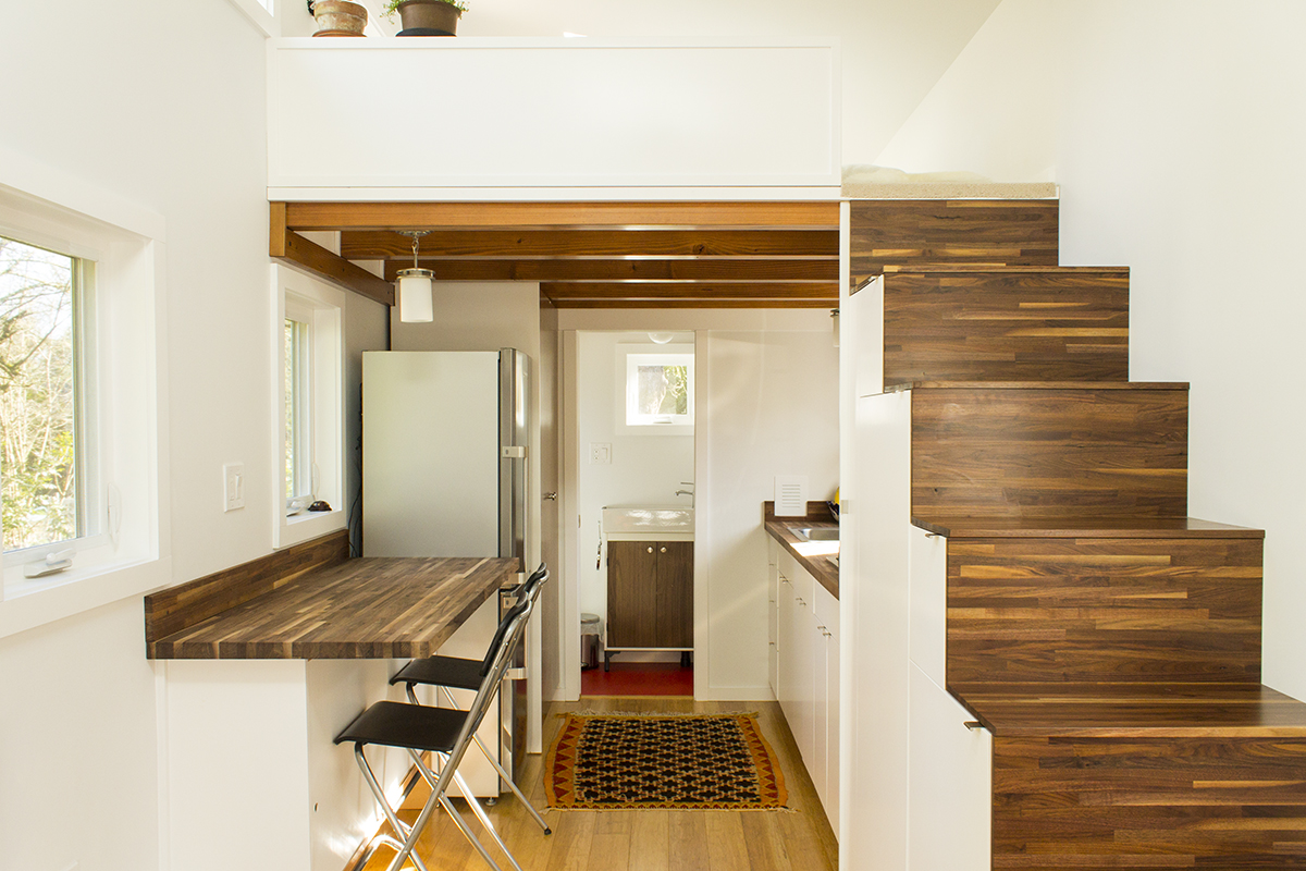 The light filled hikari box tiny house on wheels - Tiny contemporary house interior ...