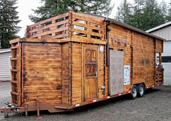 Tiny cabin on wheels by realwood tiny homes for Cabin a camper for sale