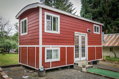Tiny House With Loft tiny house sleeping loft Red Bungalow Tiny House Has A Stand Up Office Loft