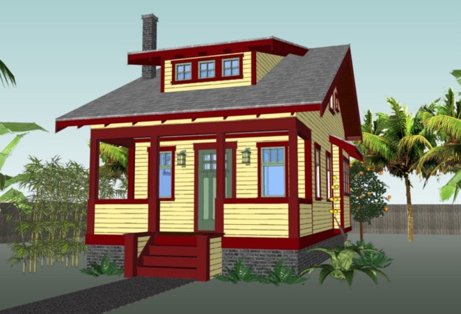 670 sq ft tiny cottage plans for Small house design drawing