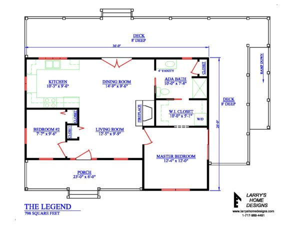 798 sq ft wheelchair accessible small house plans for Small wheelchair accessible house plans