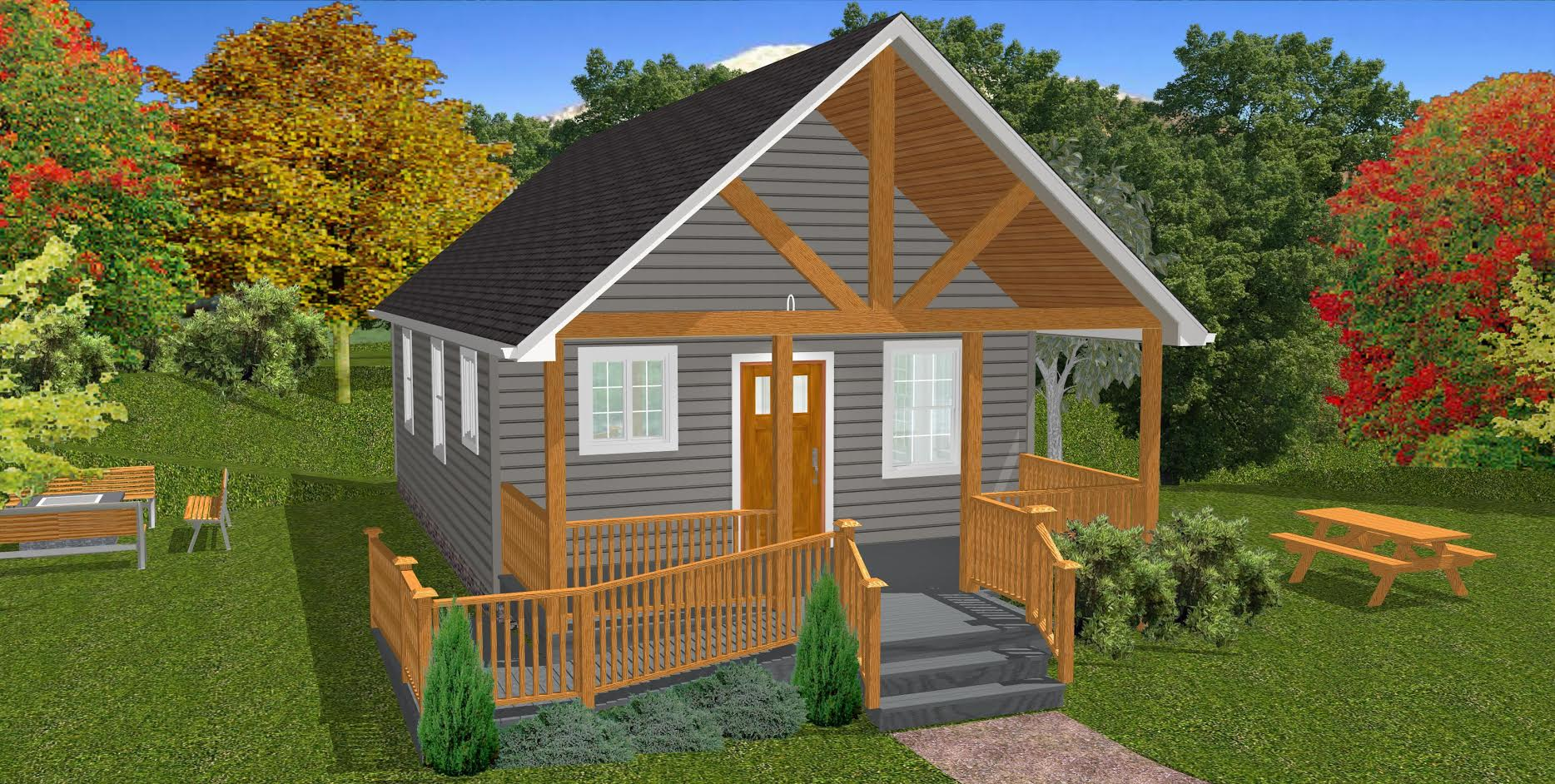 Small Home Plans: The Oasis: 600 Sq. Ft. Wheelchair-Friendly Home Plans