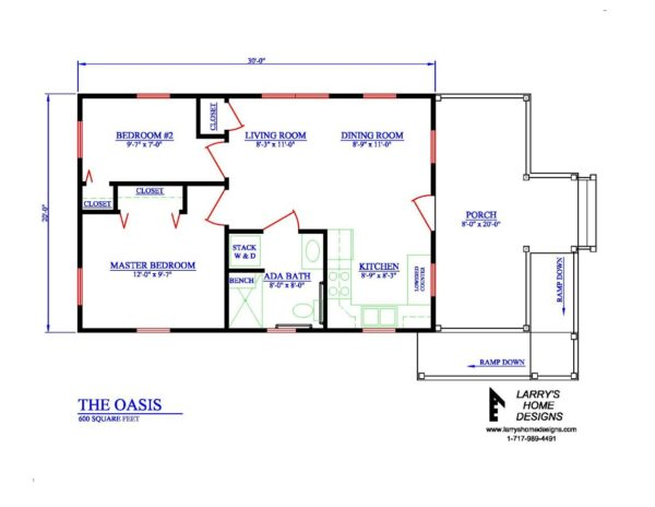 The Oasis 600 Sq Ft Wheelchair Friendly Home Plans: accessible home design