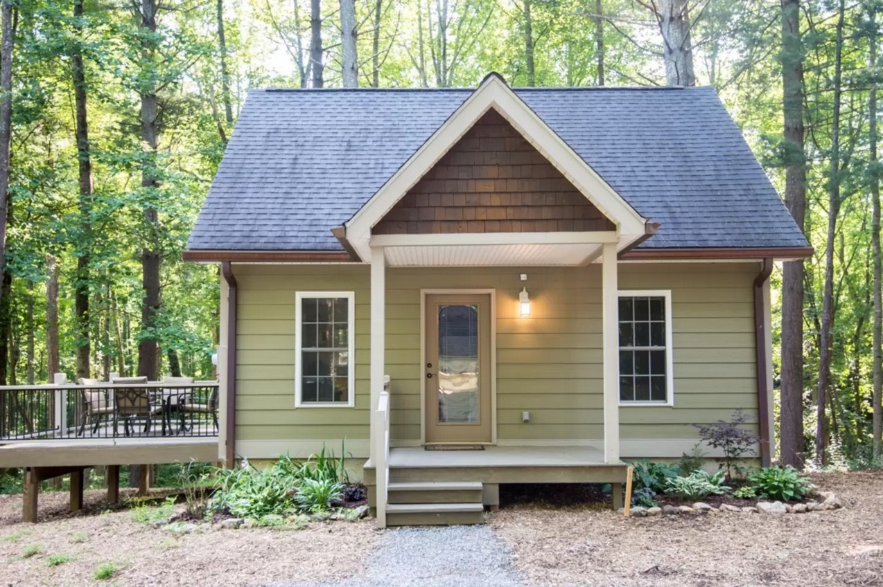 Tiny cottage in asheville forest for Small cabins and cottages