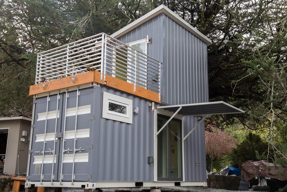 Two story shipping container tiny house for sale for Small two story homes