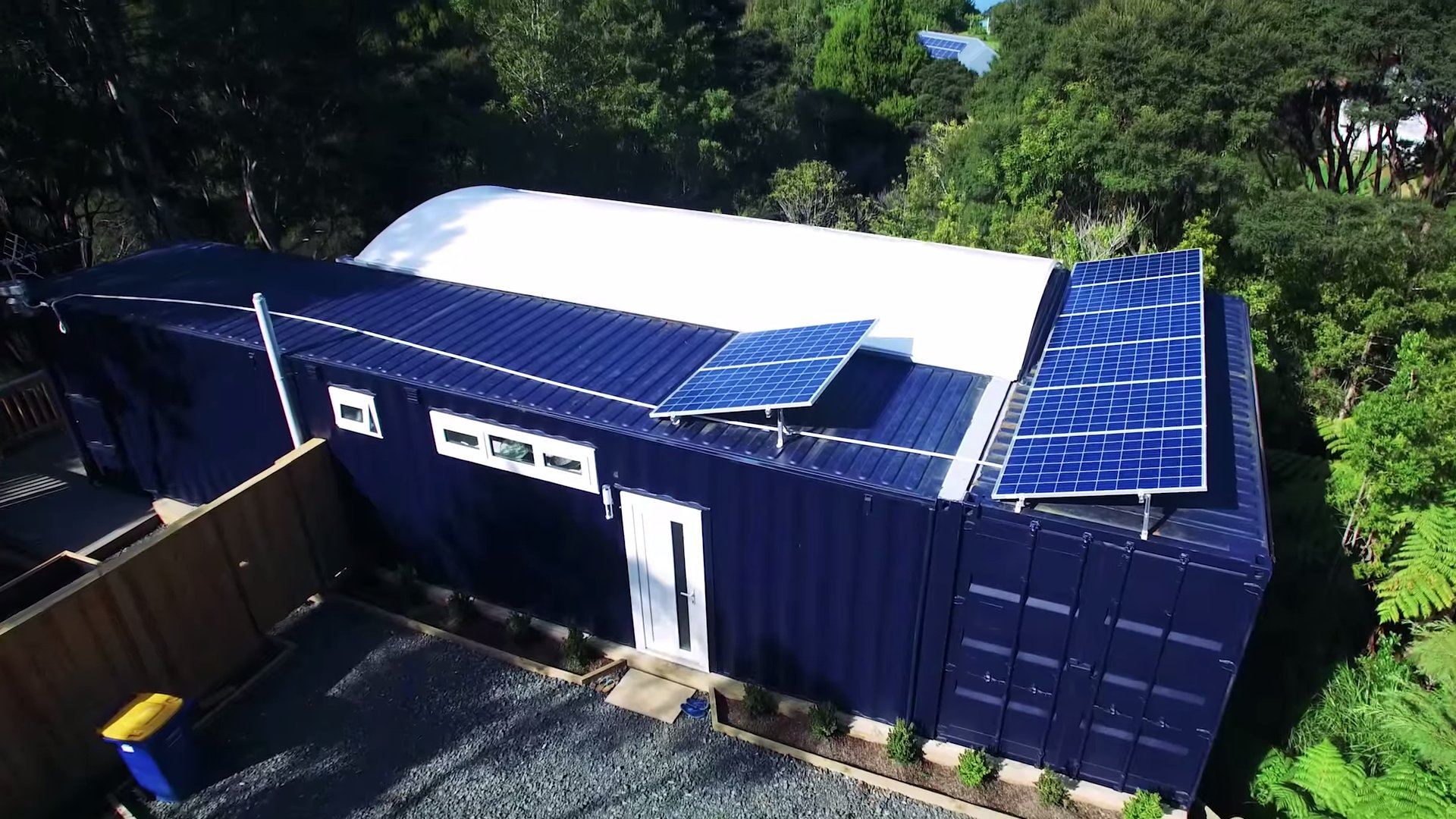 woman's solar 484 sq. ft. shipping container home