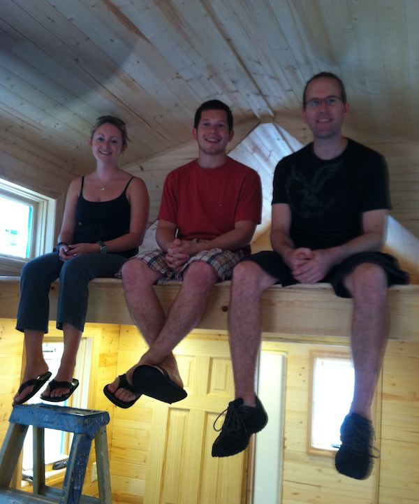 andrea alex and dan inside tiny living house   Tiny Home Builders Workshop: Alpharetta Georgia