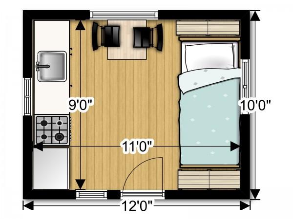 Tiny House Floor Plans 10x12 Back To Basics B2b Cabin