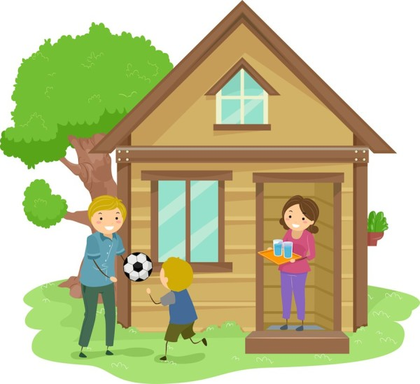Illustration Of A Family Bonding Together In The Front Yard Their Tiny House
