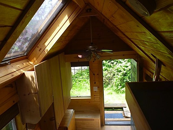 Interior of Tiny Home with Ceiling Fan and Skylight