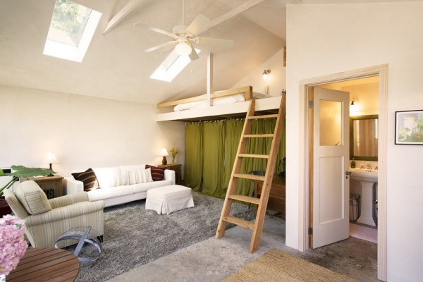 Two car garage converted into backyard tiny cottage for Converting a garage into a bedroom and bathroom