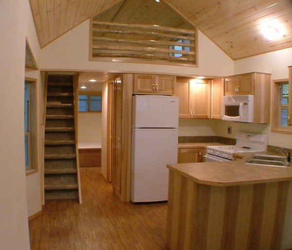 Small Homes That Use Lofts To Gain More Floor Space: Spacious Park Model Tiny Cabin On Wheels By RPC