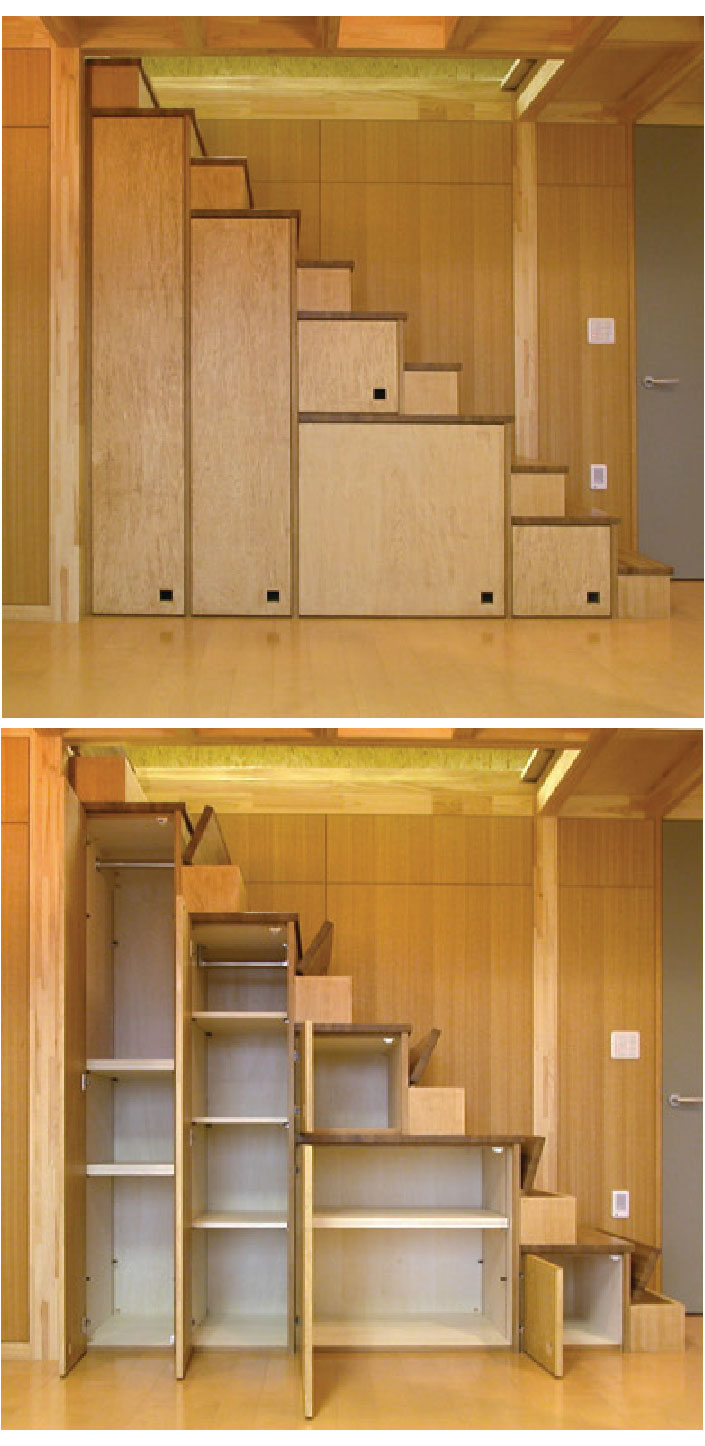 Tiny house furniture fridays 22 staircase storage beds - Space saving cabinet ideas ...