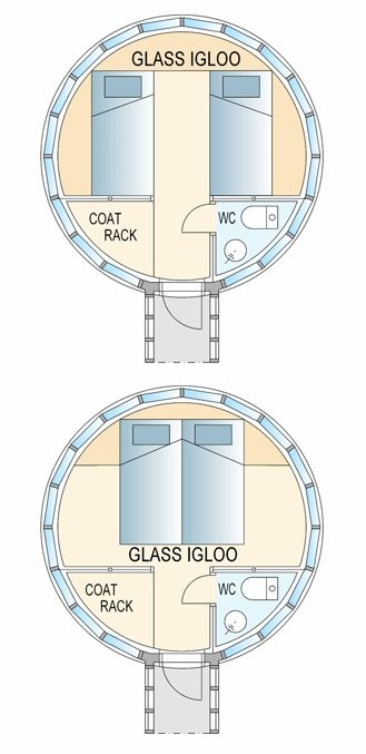 glass igloo tiny house floor plan   20 Glass Igloo Tiny Houses Make Village for Northern Lights