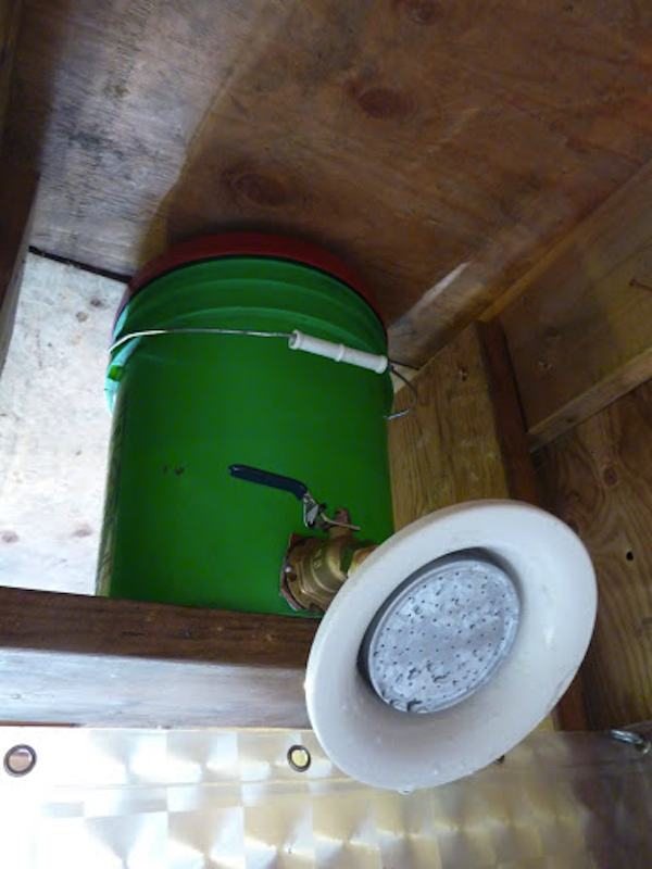 Gravity Fed Shower in Off Grid Cabin