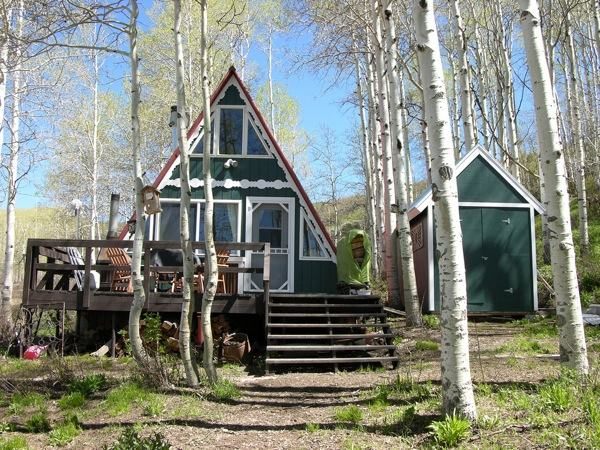 Green A-frame Tiny House (1)