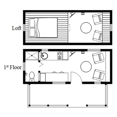 Humblebee porch tiny house plans with side entrance for Tiny house designs free