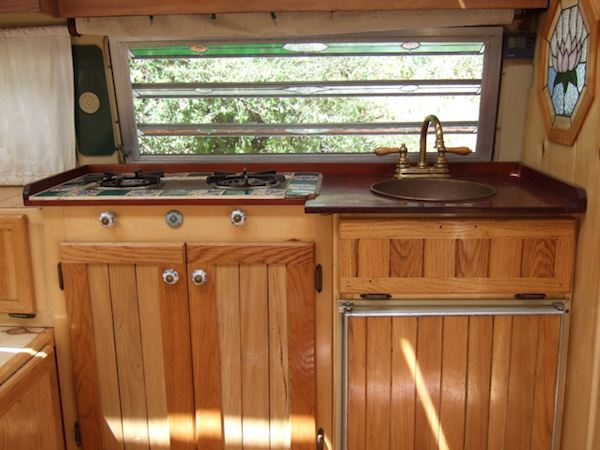 Interior Kitchenette of Tiny VW House Bus