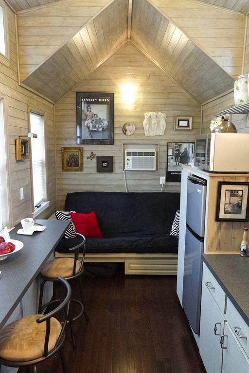 interior of tiny retirement house with no sleeping loft by dan louche   Single Story Tiny Homes: An Interview with Dan Louche