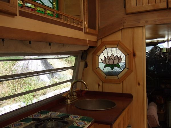Interior with Stained Glass of Tiny House Bus