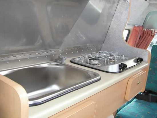 kitchen in a tiny motorhome   Tiny Motorhomes