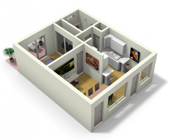 live work apartment 10 600x484   Small Apartment Design for Live/Work: 3D Floor Plan And Tour