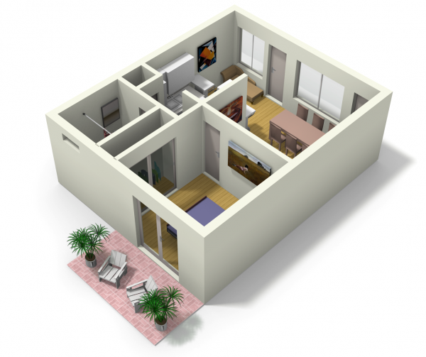 Small apartment design for live work 3d floor plan and tour for Small house plan design 3d