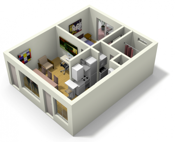 live work apartment 7 600x487   Small Apartment Design for Live/Work: 3D Floor Plan And Tour