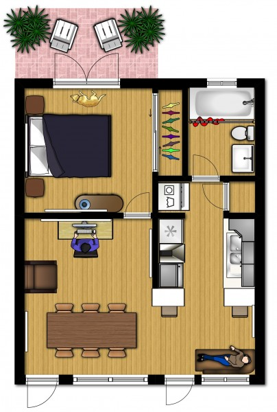 Small apartment design for live work 3d floor plan and tour for Modern house 18x18
