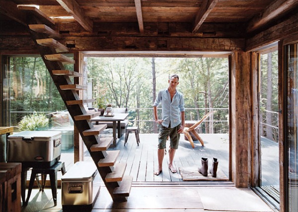 loft and deck   Small Rustic Cabin: Materials Reclaimed from 100 year old Barn