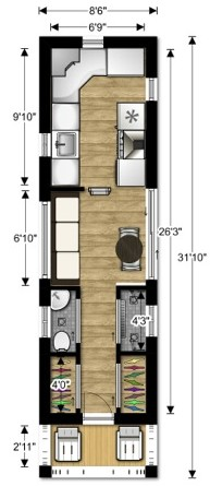 lovebug2 tiny house couples floor plan 2 - Tiny House Plans 2