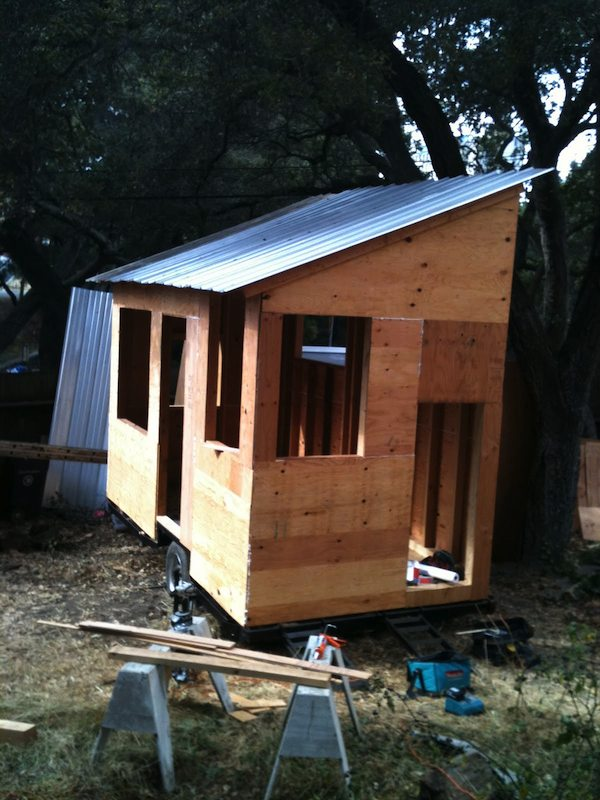 matt wolpe tiny house sheathing   DIY Tiny House on a Trailer for $5,500