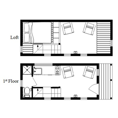 The mcg tiny house with staircase loft photos video and for Small house floor plans with loft