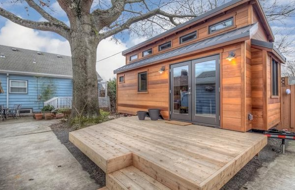 mike and lauras backyard tiny house on a trailer   Couple Builds Tiny Home to Live in their Portland Backyard