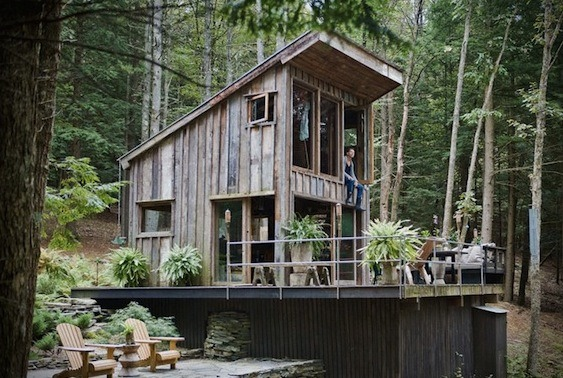 300 sq ft off grid cabin in woods of new york