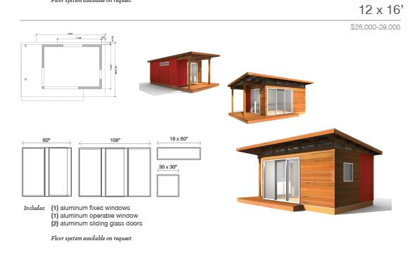 Denny modern shed roof cabin plans for Small barn house kits