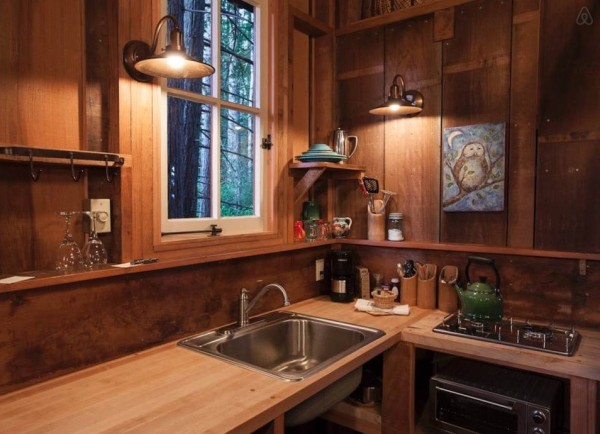 Kitchenette in the Redwoods Cabin