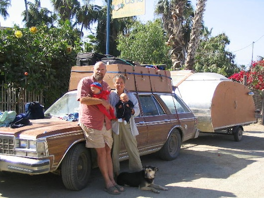 Pat and Family and their teardrop trailer