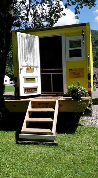 Small Camper With Slide Out >> Sandy's 112 Sq. Ft. Yellow Box Truck Tiny House